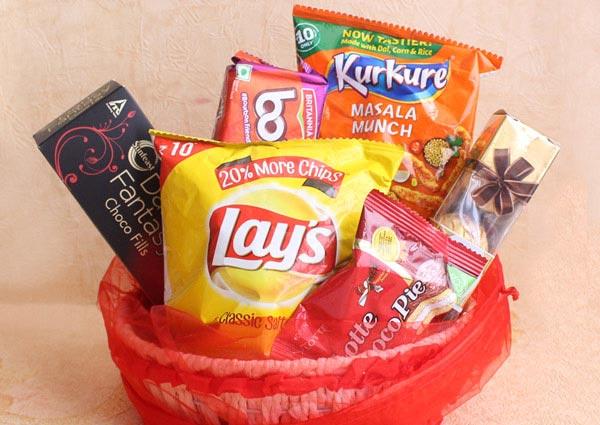 A basket of snacks