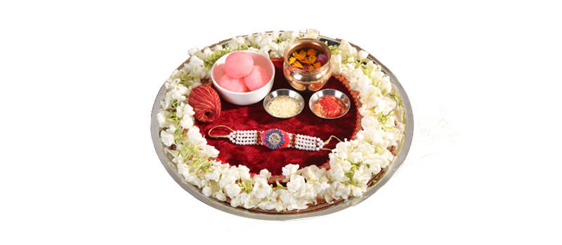 Flower Rakhi Thali Decoration