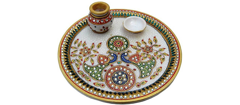 Marble Puja Thali Decoration
