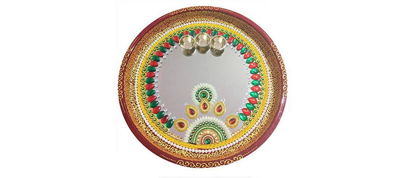 Mirror Work Ceramic Thali Decoration