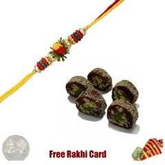 1 Rakhi with Anjeer Burfi and a Free Silver Coin