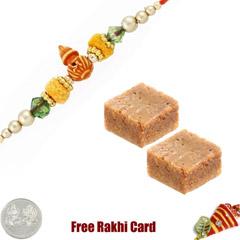 1 Rakhi with Milk Cake and a Free Silver Coin