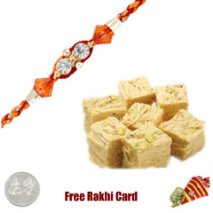 1 Rakhi with Patisa and a Free Silver Coin