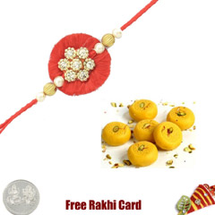1 Rakhi with Kesar Peda and a Free Silver Coin
