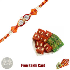 1 Rakhi with Halwa Selection Box and a Free Silver Coin
