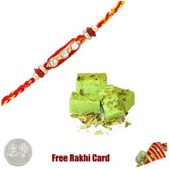 1 Rakhi with Pista Burfi and a Free Silver Coin