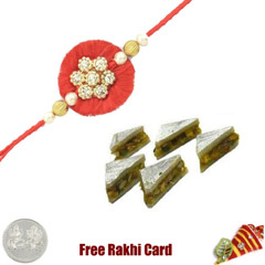 1 Rakhi with Pista Sandwich and a Free Silver Coin