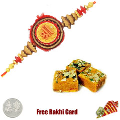 1 Rakhi with Soan Papadi and a Free Silver Coin