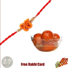 1 Rakhi with Gulab Jamun and a Free Silver Coin