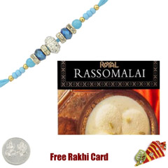 1 Rakhi with Rasmalai and a Free Silver Coin