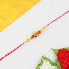 Lucky Turtle & Rudraksh Rakhi in Red Cotton Thread -FOR AUSTRALIA