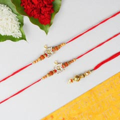Swaminarayan Rakhi with Lumba   3 Rakhi Set