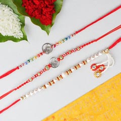 Ik Onkar & White Bead Rakhi  -3 Rakhi Set FOR AUSTRALIA