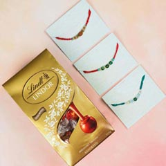 3 Rakhi Set of Rudraksh & Agate with Lindt Lindor