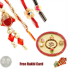 Rakhi Thali with Family Rakhi Set and Free Silver Coin