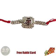 Premium Shiny Om Rakhi  with Free Silver Coin