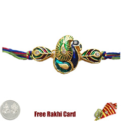 Premium Blue Peacock Rakhi  with Free Silver Coin