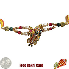 Premium Colorful Bihariji Rakhi  with Free Silver Coin