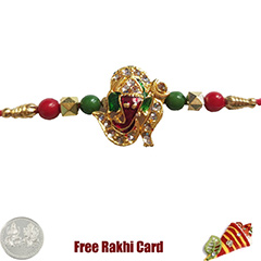 Premium Jewelled Om Ganesh Rakhi  with Free Silver Coin