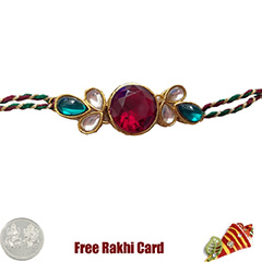 Premium Red Moti Rakhi  with Free Silver Coin