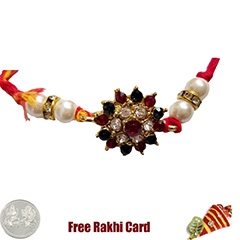 Premium Glittering Flower Rakhi  with Free Silver Coin