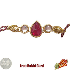 Premium Red Kundan Rakhi  with Free Silver Coin