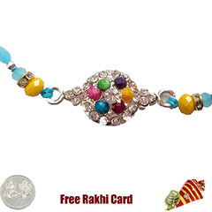 Premium Colorful Blue Stone Rakhi  with Free Silver Coin