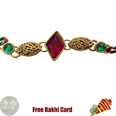 Premium Single Red Stone Rakhi  with Free Silver Coin