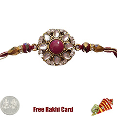 Premium Red Moti Flower Rakhi  with Free Silver Coin