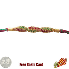 Premium Red Green String Rakhi  with Free Silver Coin