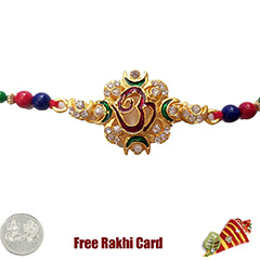 Premium Jewelled Om Rakhi  with Free Silver Coin