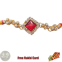 Premium Red Rakhi Bracelet  with Free Silver Coin