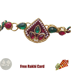 Premium Red Green Moti Rakhi  with Free Silver Coin