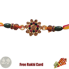 Premium Beautiful Rakhi  with Free Silver Coin