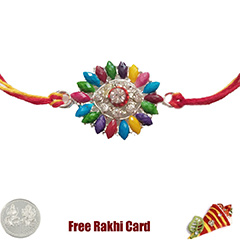 Premium Colorful Rakhi  with Free Silver Coin