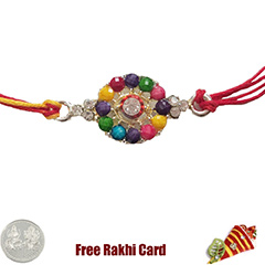 Premium Colorful Stone Rakhi  with Free Silver Coin