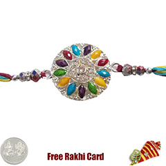 Premium Colorful Flower Rakhi  with Free Silver Coin