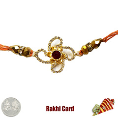 Premium Red Designer Flower Rakhi  with Free Silver Coin