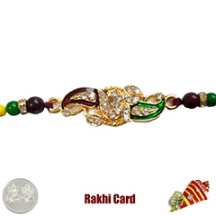 Premium Decorated Om Rakhi  with Free Silver Coin