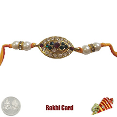 Premium Jewelled Pearl Rakhi  with Free Silver Coin