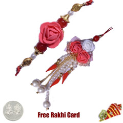 Rose Bhaiya Bhabhi Rakhi Pair with a Free Silver Coin