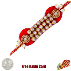 Striking Diamond Zardosi Rakhi with Free Silver Coin