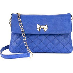 Casual Crossed Pattern Sling Bag (Blue)