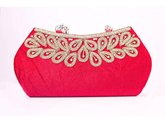 Handle Velvet Clutch (Red)