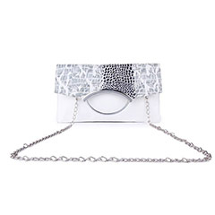 Designer Printed Flap Sling Clutch ( White )