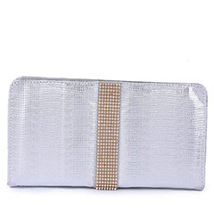 Designer Stone Party Clutch ( Silver )