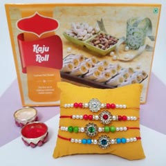 4 Colorful Rakhis with Kaju Roll