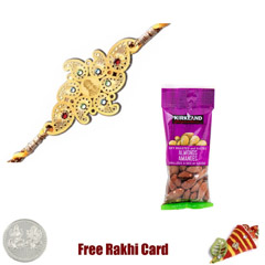 24 Ct. Gold Plated Rakhi  with 50 grams Almonds
