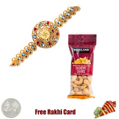 24 Ct. Gold Plated Rakhi  with 50 grams Cashews