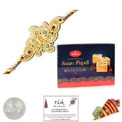 Diviniti 24 Ct. Gold Rakhi with Haldiram Soan Papadi 250 grams